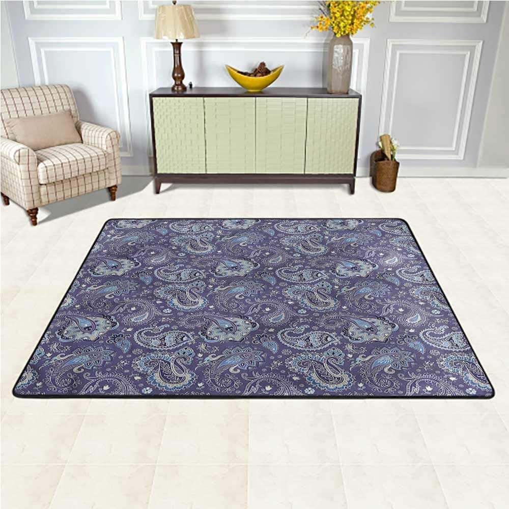 Rugs Paisley, Flowers and Leaves Artwork Baby Crawling Mat Suitable for Living Room and Bedroom Nursery 5 x 7 Feet