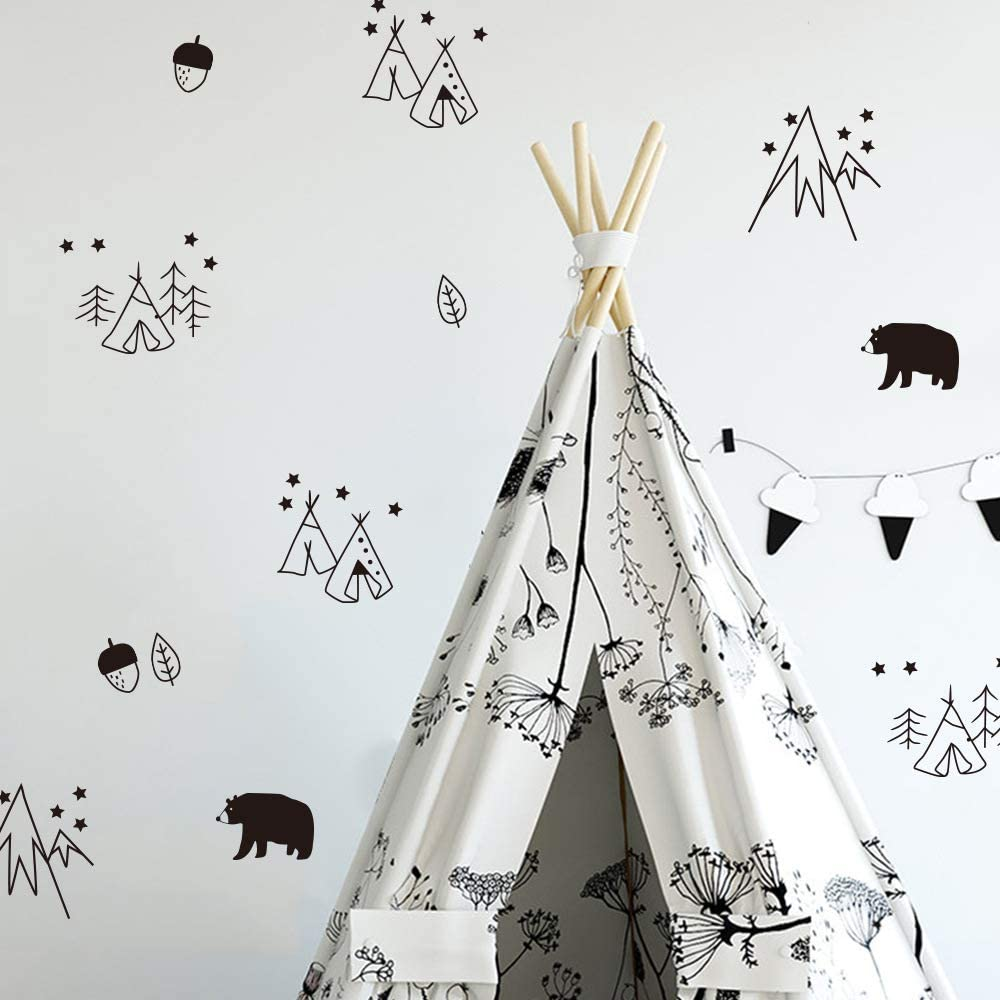 Wall Stickers for Kids Rooms Baby Boy Bedroom DIY Wall Art Decor Tent and Bear Cartoon Wall Decals