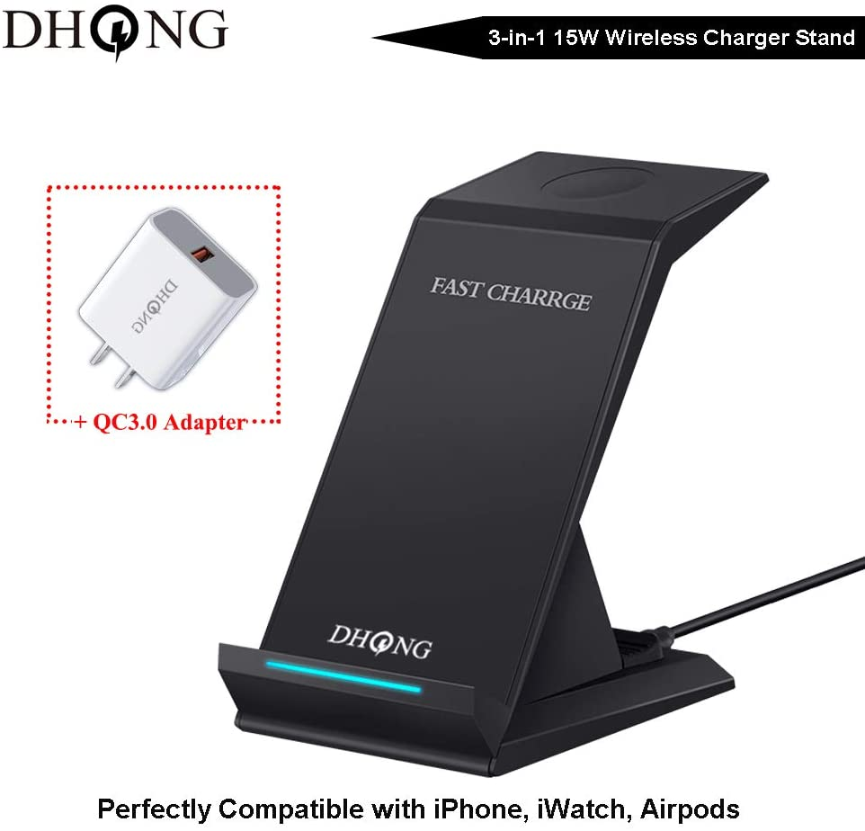 3in1 Qi Wireless Fast Charger, DHong 15W QC3.0 Quick Charger Mobile Phone Holder Stand for iPhone Xs/Max/XR/8 Plus iWatch Airpod Compatible Galaxy S9/S8/S7/Note9 (Black, 18W USB Adapter Included)