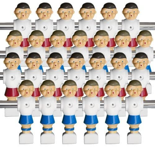 Brybelly Old-Style Foosball Men with Hardware (Set of 26), Red and Blue