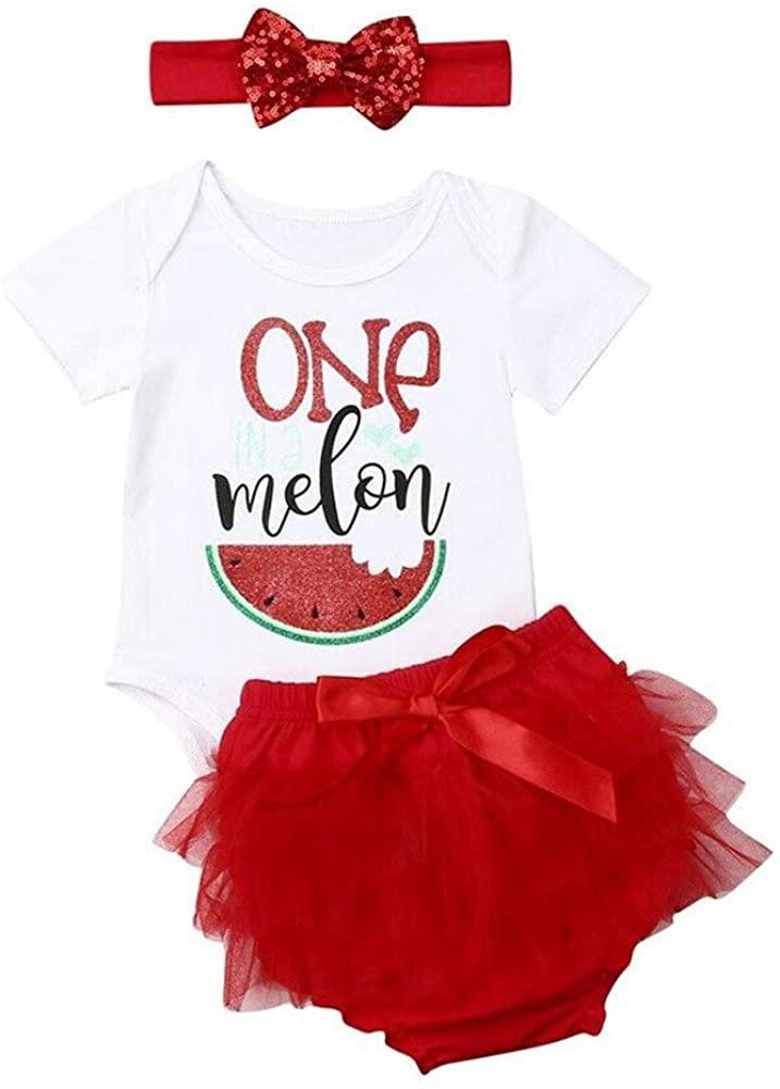 Baby Girls One Melon Outfits Short Sleeve Watermelon Bodysuit Romper+Ruffle Tutu Short and Headband