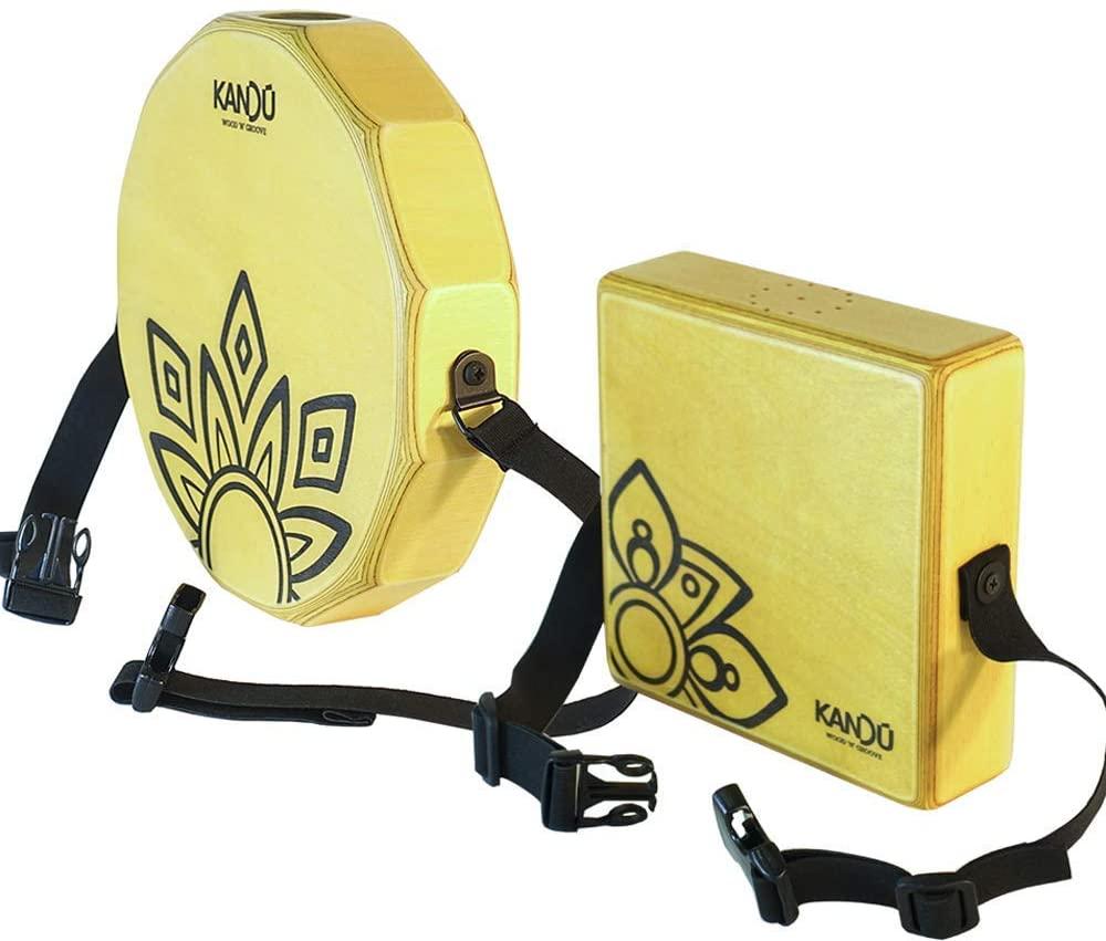 Set Of Sahara Yellow KTAK Cajon Body Snare & Mashbox Wearable Shaker