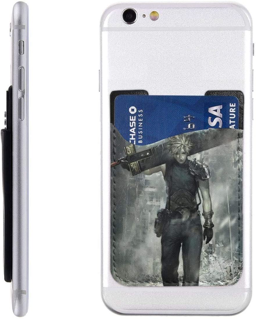 Phone Card Holder Cloud Strife Final Fantasy VII Advent Children FFVII Mobile Cell Phone Cases Pouch Sleeve Pocket Funny Stick On Wallet for Business Credit Card & Id 2.4X3.5inch