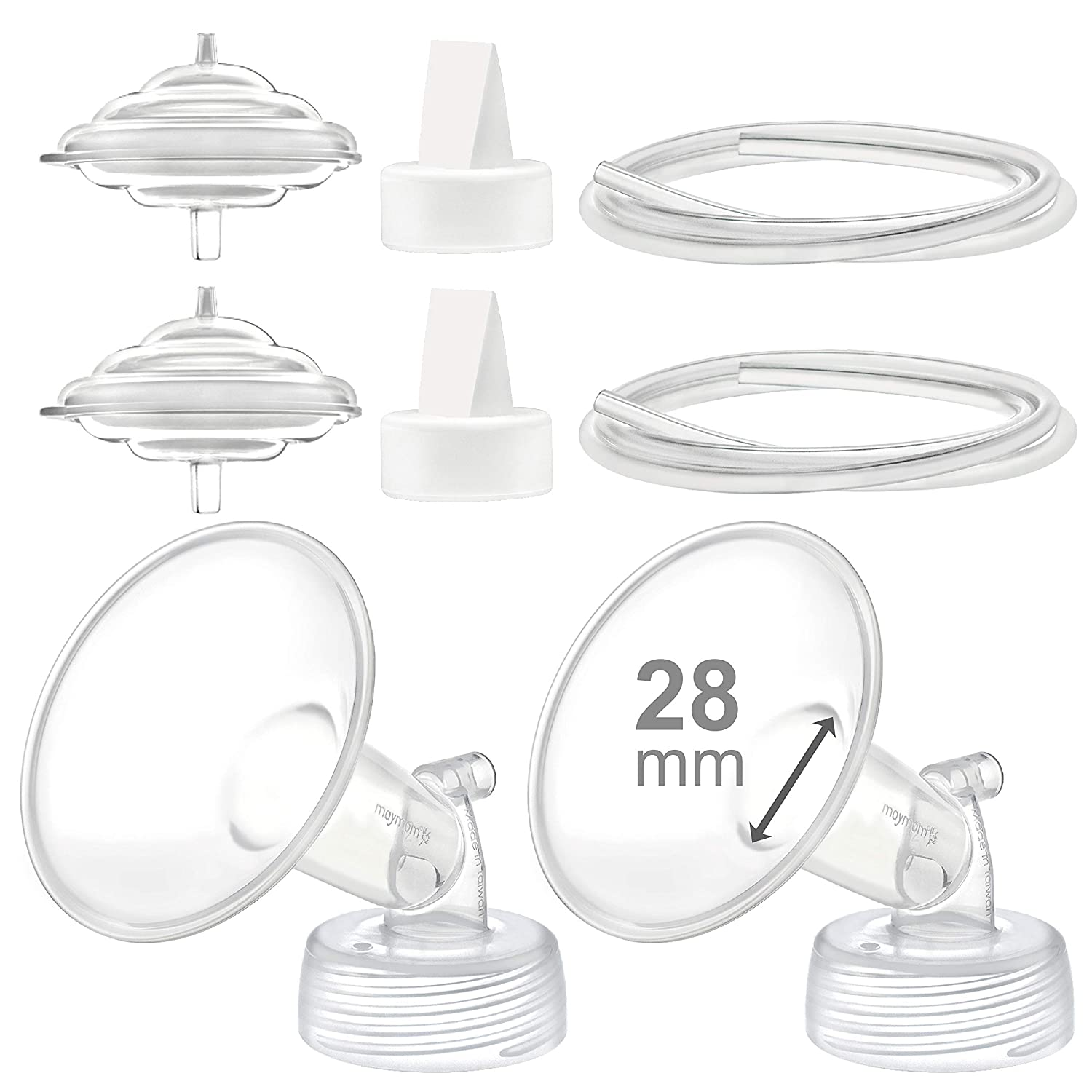 Maymom Pump Parts Compatible with Spectra S2 Spectra S1 Spectra 9 Plus Breastpump, Flange (28mm) Valve Tubing Backflow Protector, Not Original Spectra Pump Parts Not Original Spectra S2 Accessories