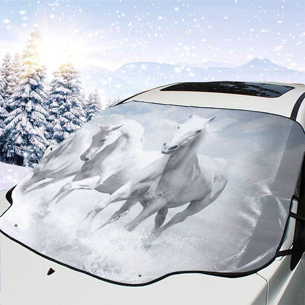 THONFIRE Car Front Window Windshield Winter Sunshade Three White Horse Cover Rainproof Blocks Heat Damage Free Visor Protector Trucks Summer Heat Insulation