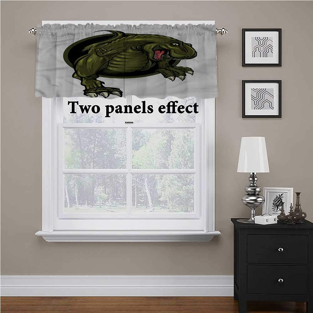 shirlyhome Jurassic Bedroom Blackout Valance Tier T rex Ancient Animal for Kids Room/Baby Nursery/Dormitory, 54 Inch by 12 Inch 1 Panel