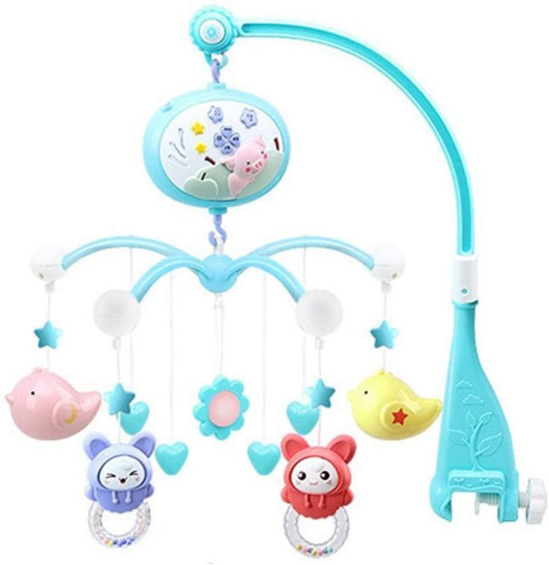 hemistin Baby Musical Crib Mobile with Timing Function Projector and Lights Newborn Remote Control Bed Bell Baby Toy 3-6-12 Months Rotating Rattle Bedside Bell