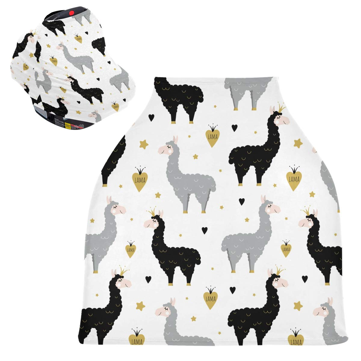 Stretchy Baby Car Seat Canopy - Cute Black Gray Llamas Infant Stroller Cover Multi Use Carseat Canopy Nursing Cover for High Chair