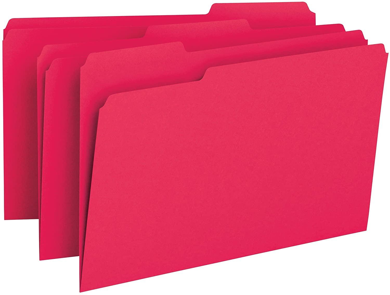 Smead File Folder, 1/3-Cut Tab, Legal Size, Red, 100 per Box (17743)
