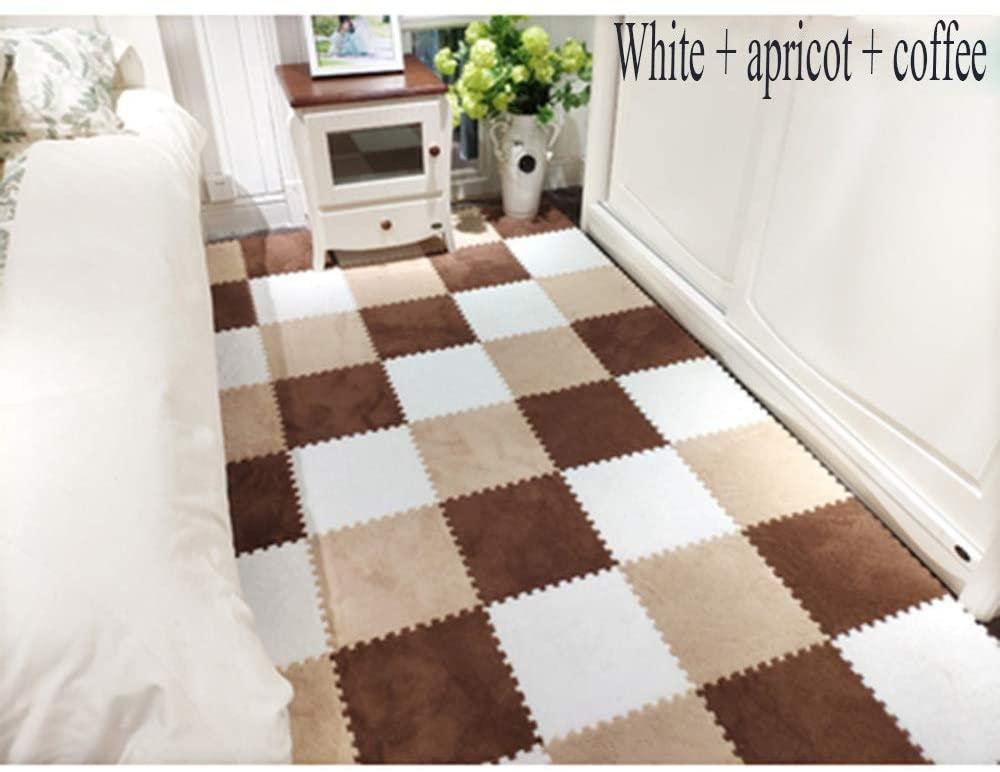 KFDQ Spliced Carpets,Carpet Floor Mat Puzzle Home Child 2 Color Stitching Floor Mats, Non-Slip Moisture Proof Washable, 30X30X0.6Cm, 3 Styles,a,30 Pcs