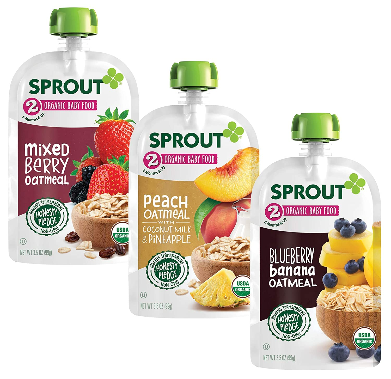 Sprout Organic Baby Food Pouches, Stage 2 Oatmeal Variety 3 Flavors Blueberry Banana oatmeal, Mixed Berry Oatmeal, Peach Oatmeal with Coconut Milk & Pineapple Pack of 18