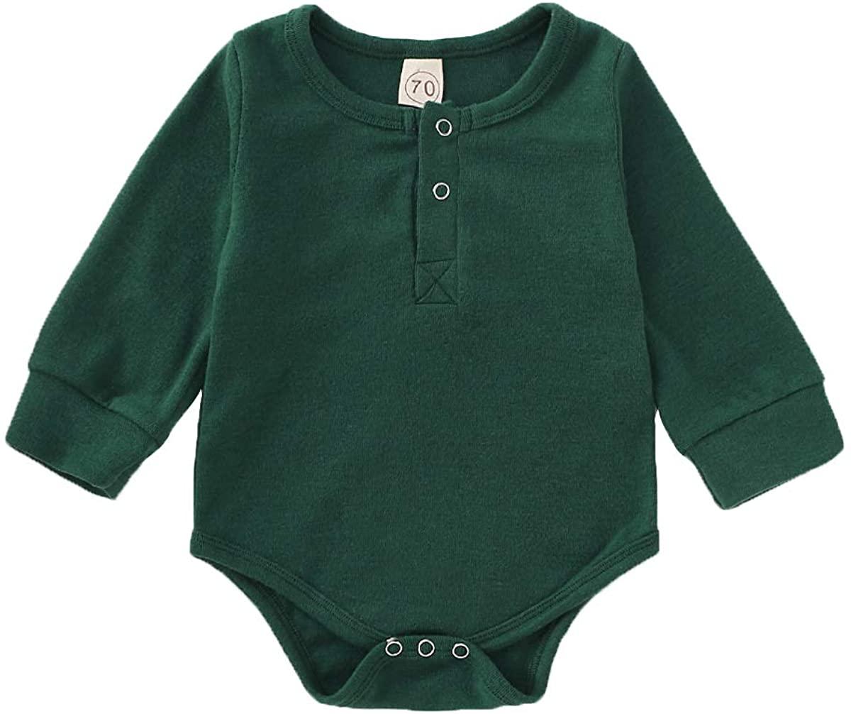 JEELLIGULAR Newborn Infant Boys Girls Romper Long Sleeve Cotton Bodysuit Unisex Baby Button Outfits