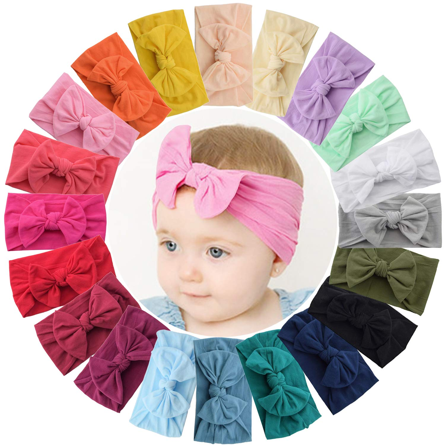 WillingTee 20 Colors Baby Girl Headbands and 4.5 Inch Bows Soft Elastic Nylon Hairbands Hair Bow Hair Accessories for Newborn Infant Toddler Girls Kids