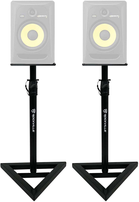 2 Rockville Adjustable Studio Monitor Speaker Stands For KRK ROKIT 8 G3 Monitors