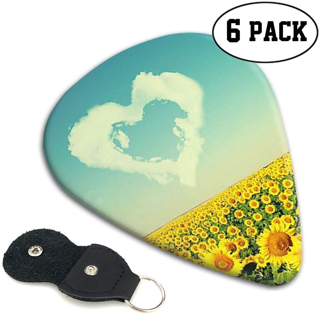 Xzyauza Yellow Sunflower Love Celluloid Guitar Picks Premium Picks 6 Pack for Guitar,Mandolin,and Bass 0.46mm, 0.71mm, 0.96mm Optional with PU Leather Pick Holder