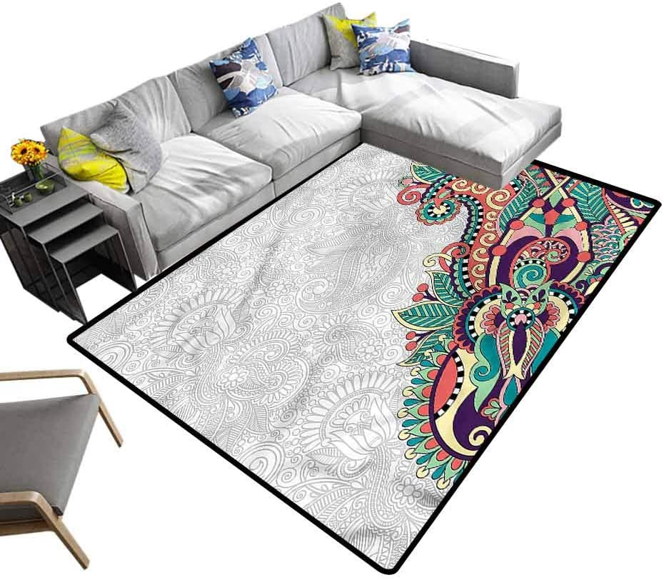 Flowers, Nursery Area Rug Floral Tribal Paisley Baby Crawling Mat for Bedroom Kids Room, 7'x 7'