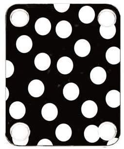 Custom Graphical Guitar Neck Plate Neckplate Polka Dots White Black