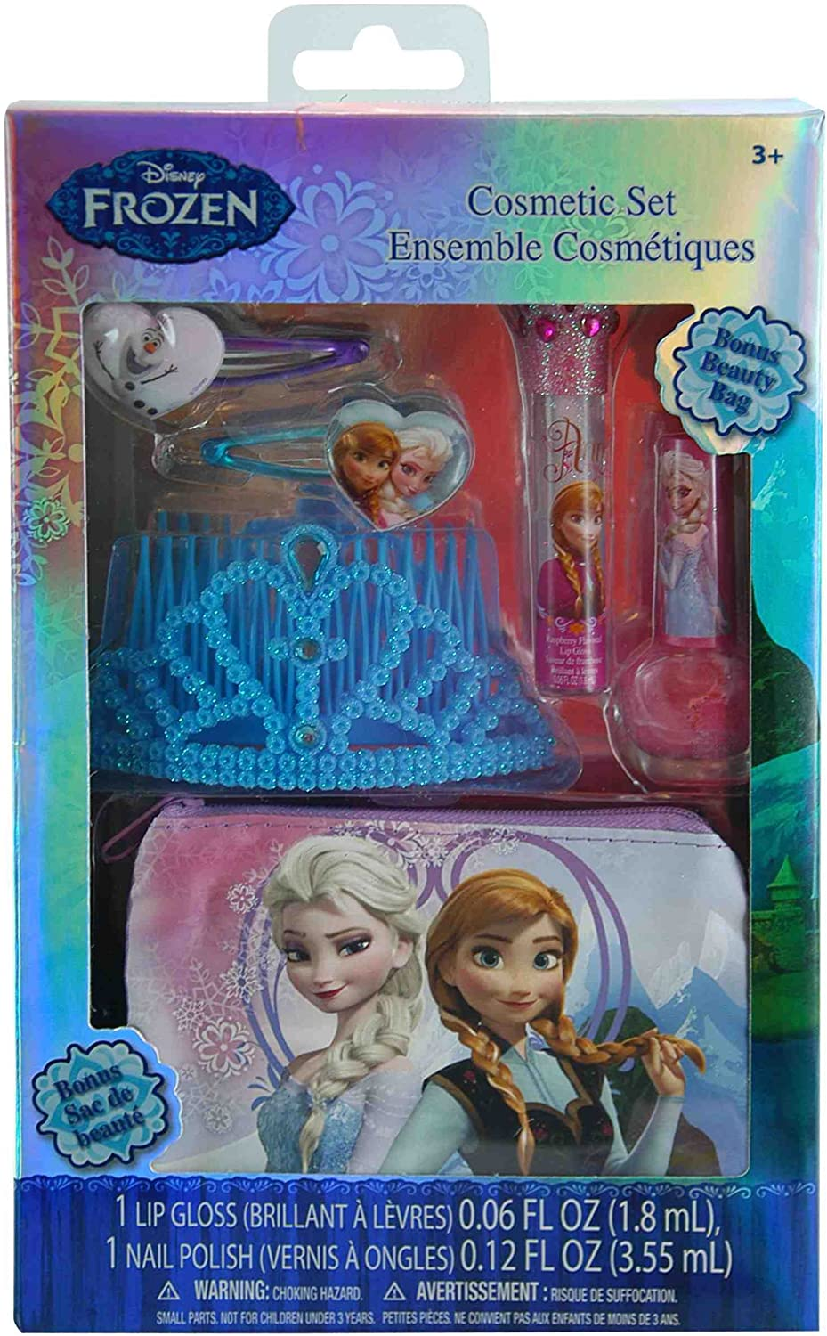 Disney Frozen Elsa and Anna Cosmetic and Hair 6 Piece Gift Set with Tiara and Beauty Bag
