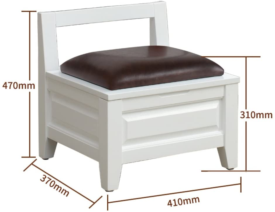 D&L Solid Wood Vintage Storage Stool, Footstool Upholstered Storage Box 4 Legs and Faux Leather Cover-D L41xW37xH47cm