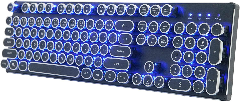 Migree USB Backlit Retro Typewriter Mechanical Keyboard with Blue Switch&Metal Base,Steampunk Keyboard,Retro Keyboard,Vintage Keyboard,Classic Keyboard,Typewriter Keyboard for PC/Gamer/Typist etc