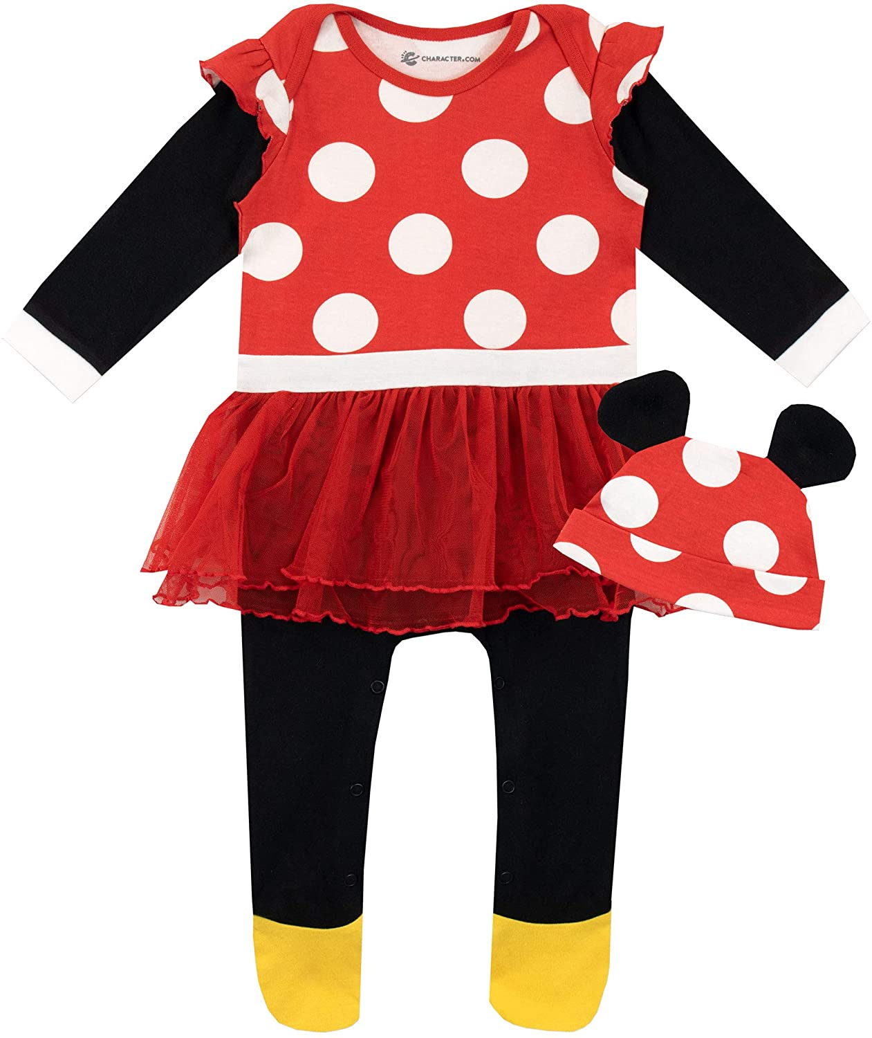 Disney Baby Girls' Minnie Mouse Footies and Hat Set