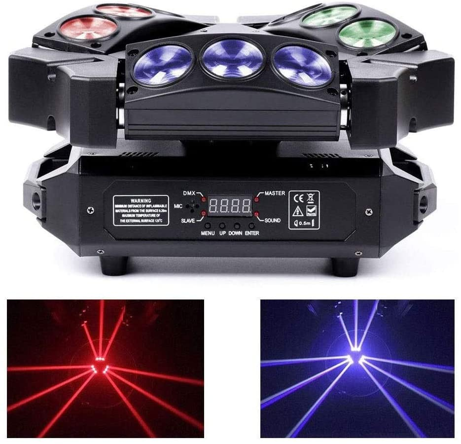 CHENNAO Party Lights Built-in Bluetooth Speaker, DMX512 RGB LEDs Moving Head Stage Light 27W Mini 9 Head Bird Disco Light for Birthday,Wedding,DJ Disco,Dance,Christmas/Xmas