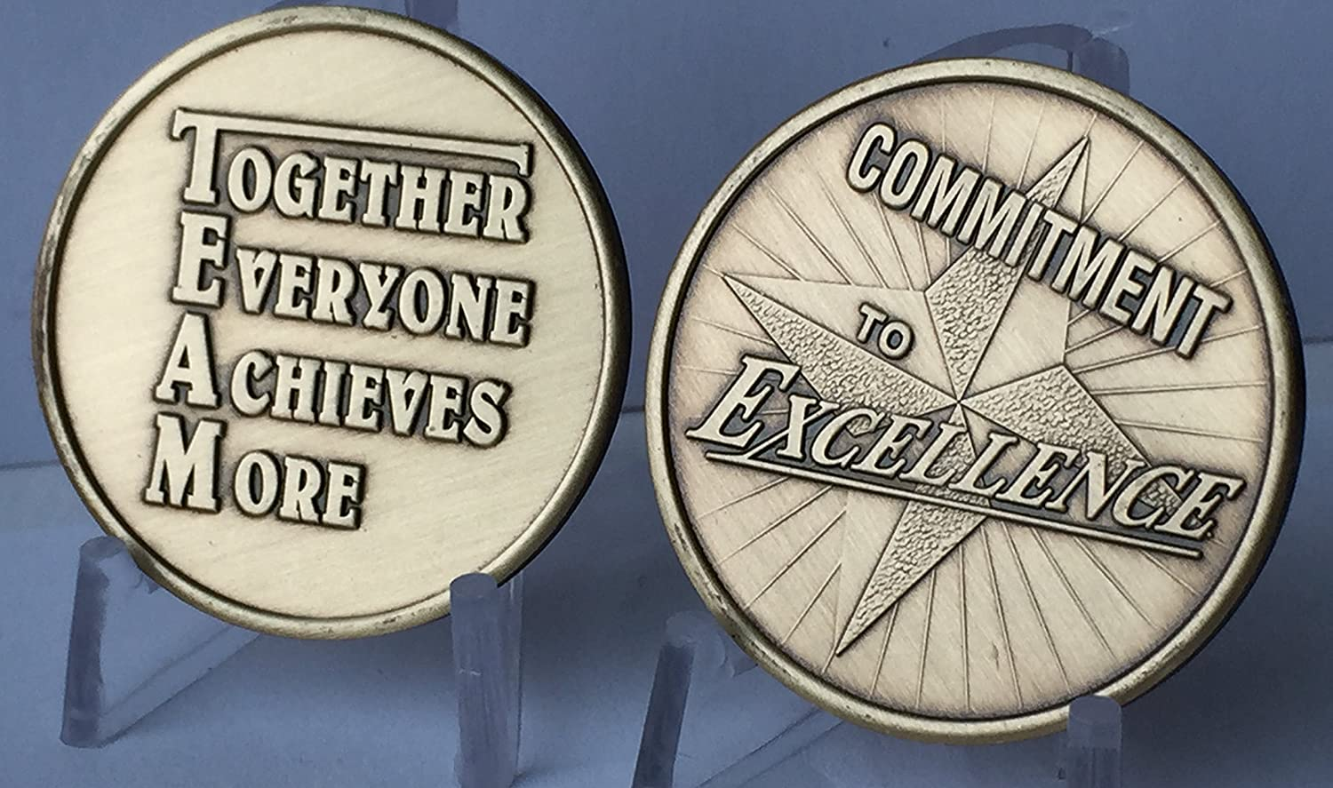 Commitment To Excellence TEAM Bronze Medallion Set of 2 Challenge Tokens