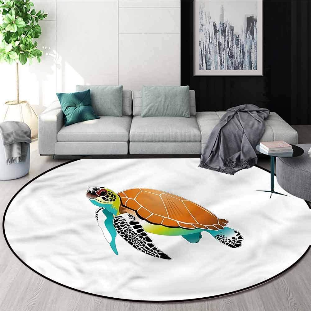 RUGSMAT Turtle Modern Machine Washable Round Bath Mat,Subaquatic Wildlife Animal Printed Round Carpet for Children Bedroom Play Tent Diameter-63