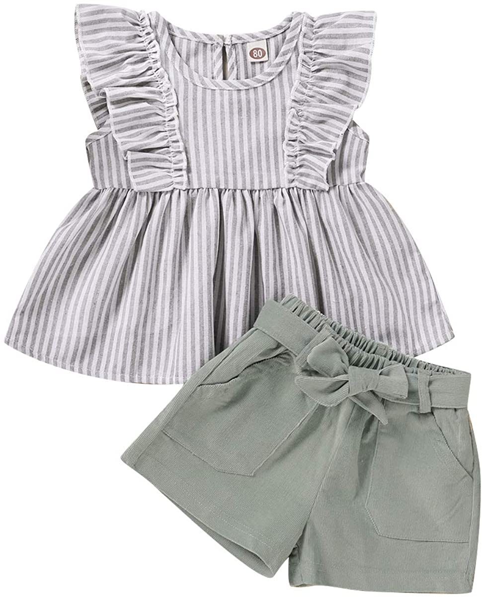 Toddler Baby Girls Summer Outfits Sleeveless Striped T-Shirt Vest Tops+Shorts Pants Clothes Set