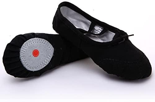 FixtureDisplays Adult Size 7.5 Black Color Canvas Ballet Dance Shoes Slippers Dance Gymnastics 16125B-38SIZE