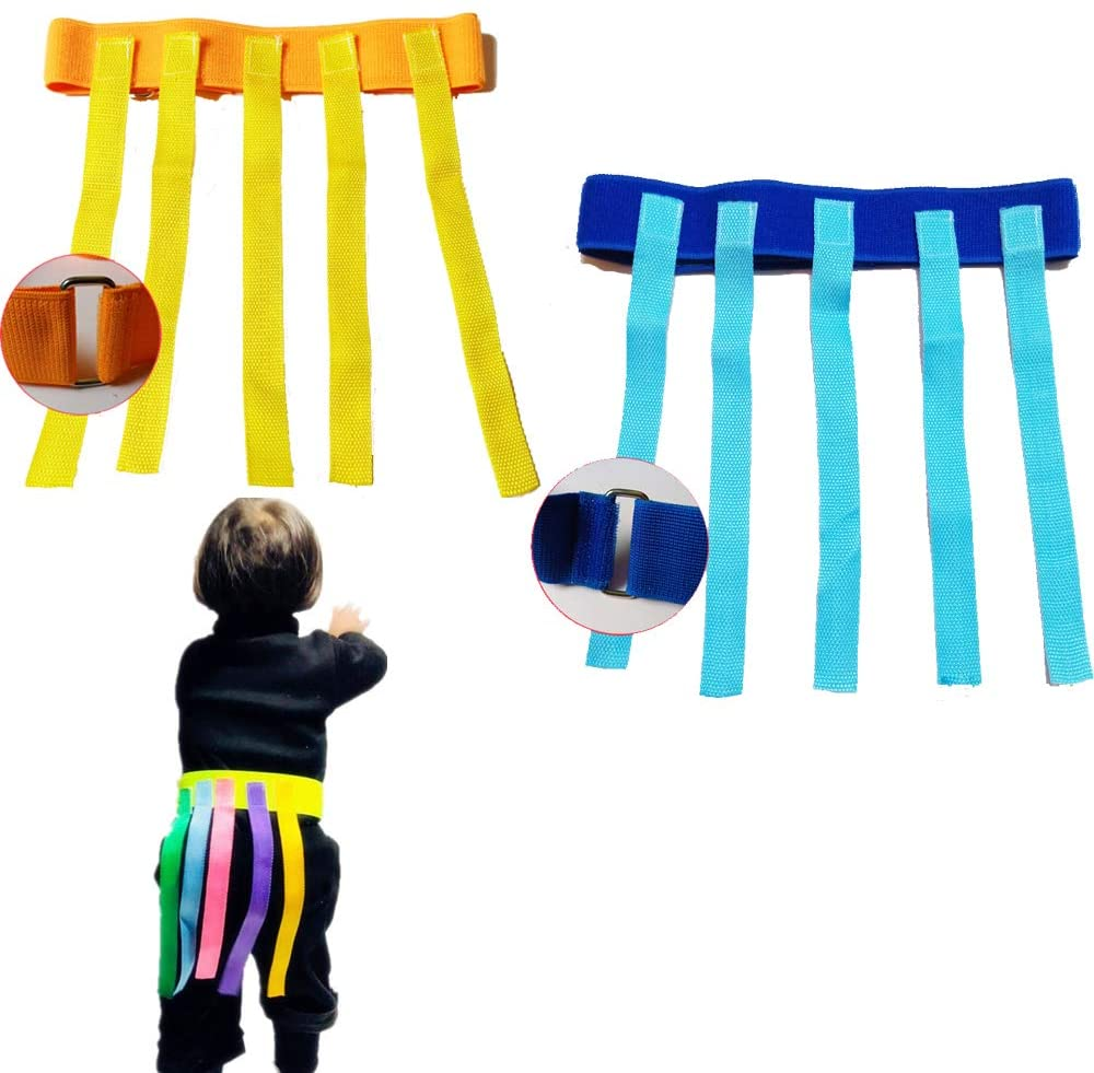 ACE-Q Adjustable Belts with Sticky Straps for Chase and Catch Game Indoor Outdoor Game Safe for Unisex Kids Children Adults Exercise Sports Parties
