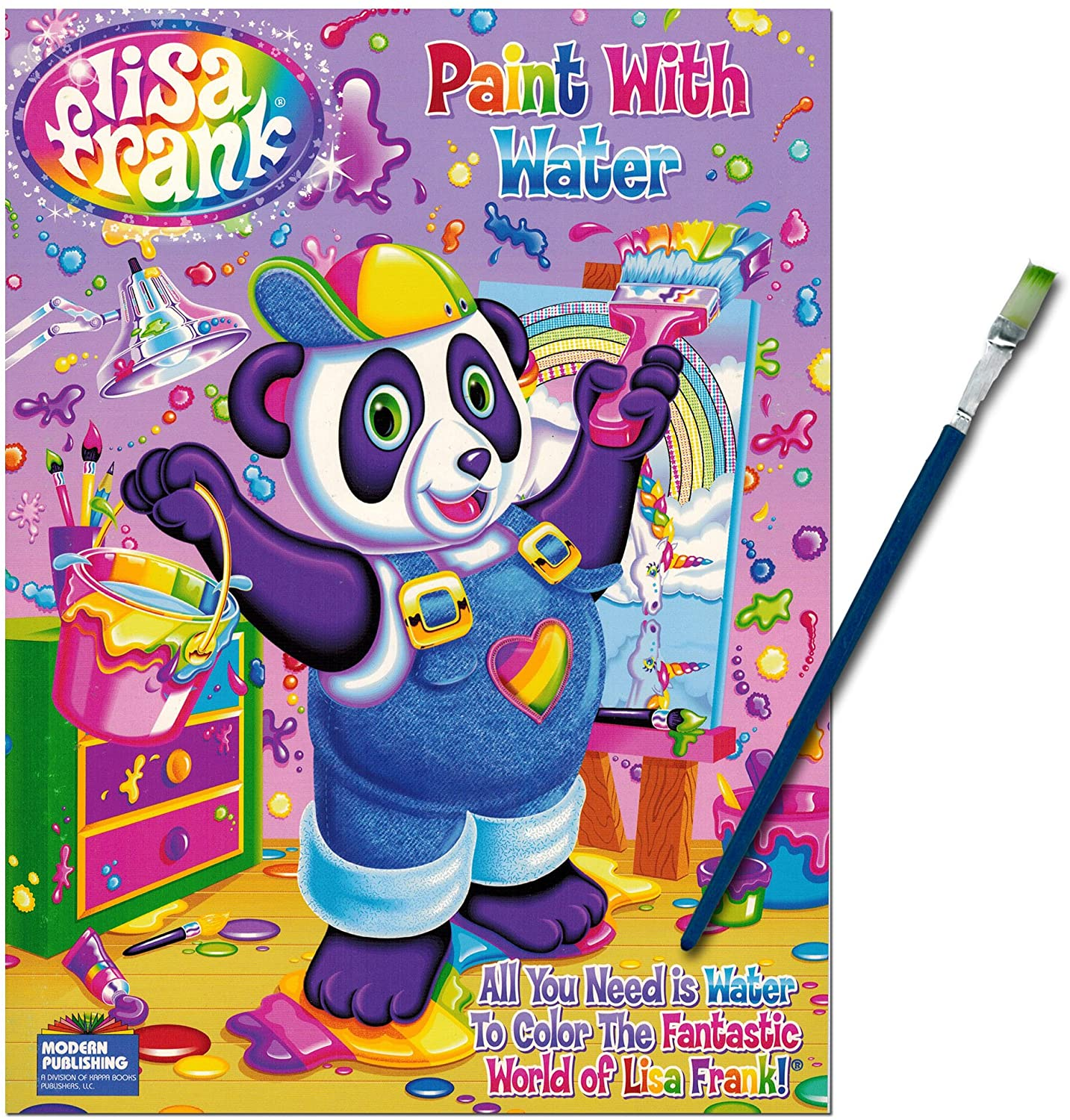 Lisa Frank Paint with Water Book with Green-Tip Paint Brush Coloring