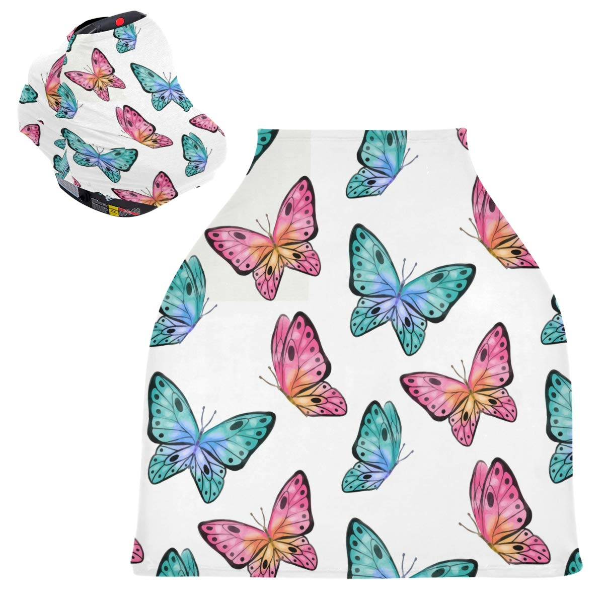 Stretchy Baby Car Seat Canopy - Colorful Butterfly Infant Stroller Cover Multi Use Carseat Canopy Nursing Cover for Breastfeeding Moms