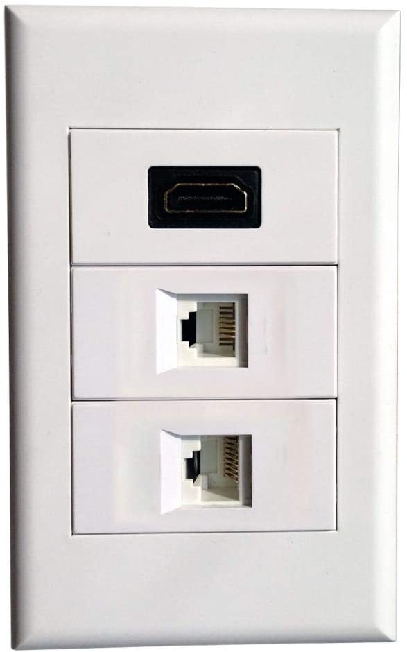 Wall Plate with HDMI + RJ11 + RJ45 Modules,Keystone Connectors Jack/Plug Wall Mount Faceplate Cover (Type118C)