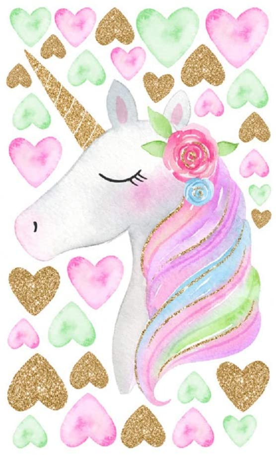 Amaonm Creative Cute Rainbow Unicorn With Colorful Hearts Wall Decals Removable PVC Wall art Decor Home Wall Decoration 3D DIY Stickers for Girls Rooms Babys Bedroom Bathroom Living Room Doors (Heart)