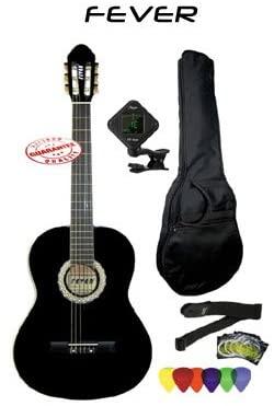 Fever Full Size Nylon Classical String Guitar Package Black with Bag Set of Strings Chromatic Tuner Strap And Picks SL-039-BK-PACK