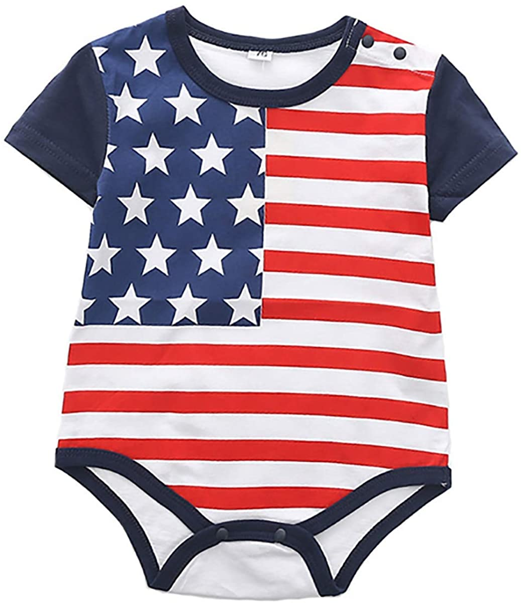 LYSMuch 4th of July Baby Boys Girls Romper Independence Day Outfit American Flag Bodysuit Toddler Patriotic Clothes