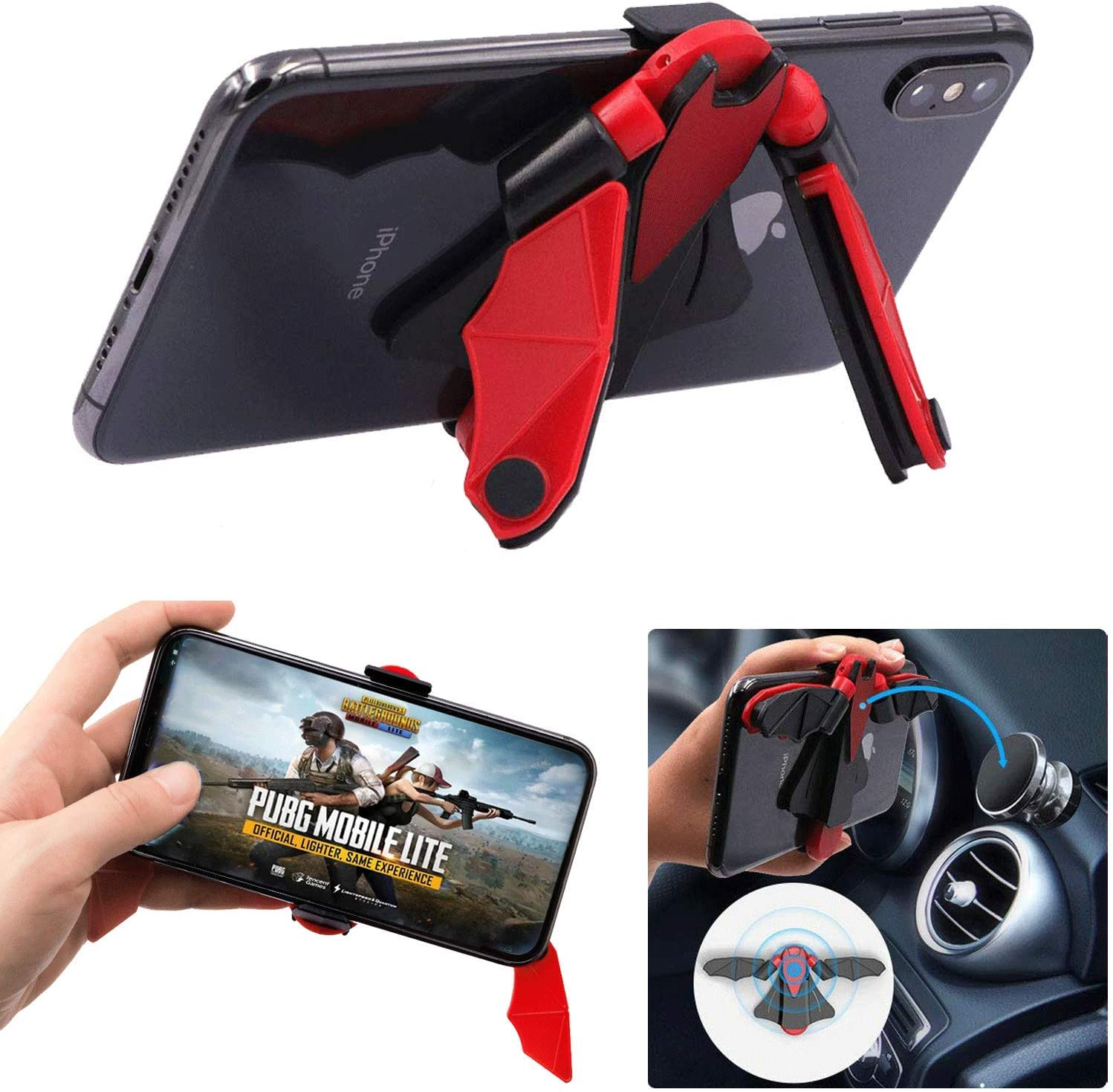 Adjustable Phone Stand, Online Classes Phone Stand, Gamepad Controller Grip, Desktop Phone Holder Cradle Dock for Magnetic Car Mount Compatible with Phone 11 Pro Xs Xs Max Xr X 8 -Red Black
