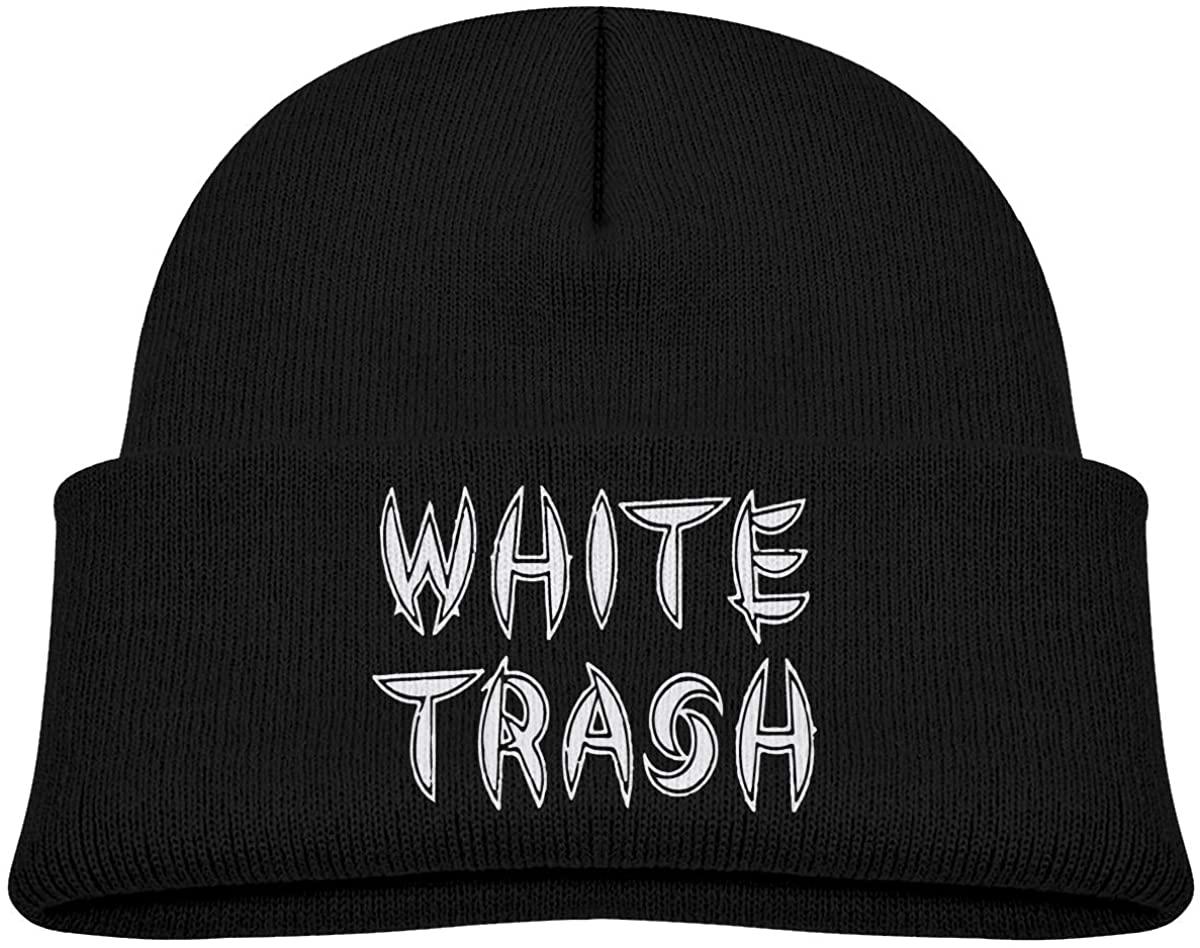 EASON-G Toddlers Beanie White Trash Cuffed Knit Hat Skull Cap
