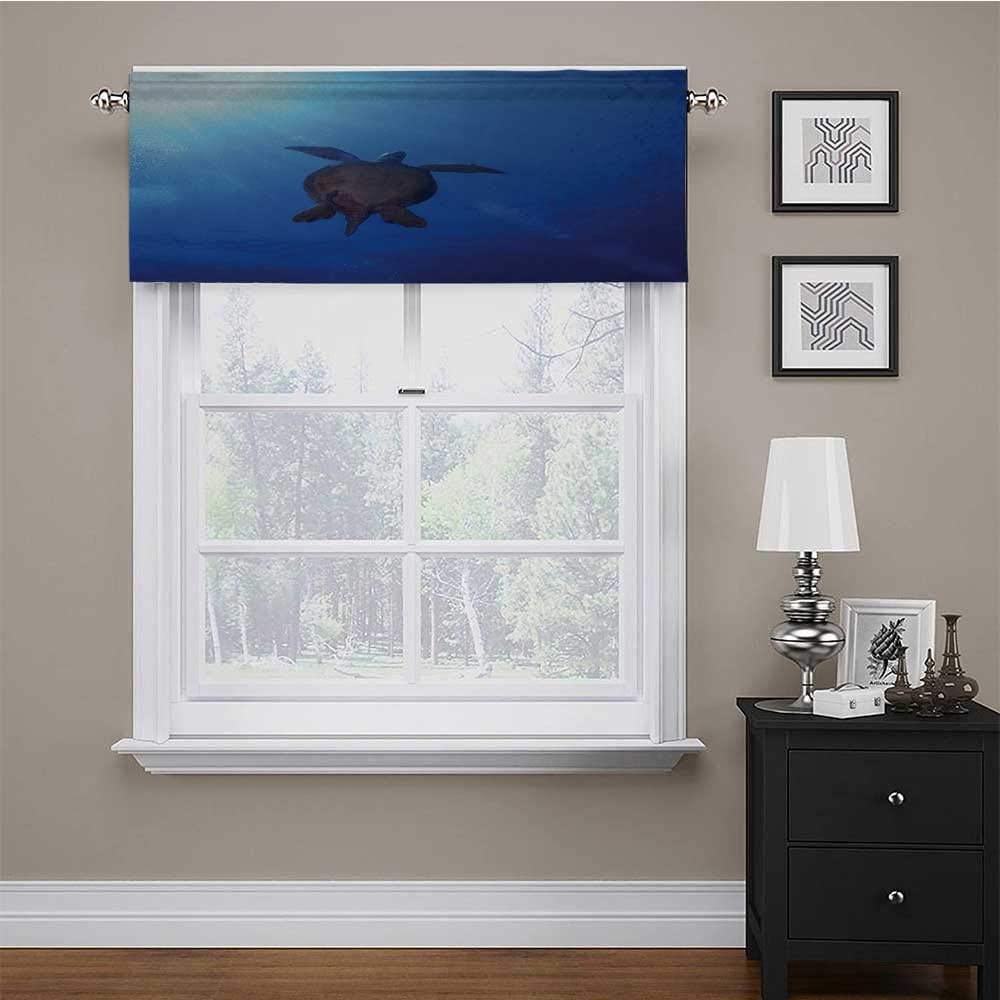 carmaxs Thermal Insulated Curtain Valance Ocean for Kids Room/Baby Nursery/Dormitory Sea Turtle Swims to The Surface of Deep Sea with The Sunlight Nature Picture Art 56