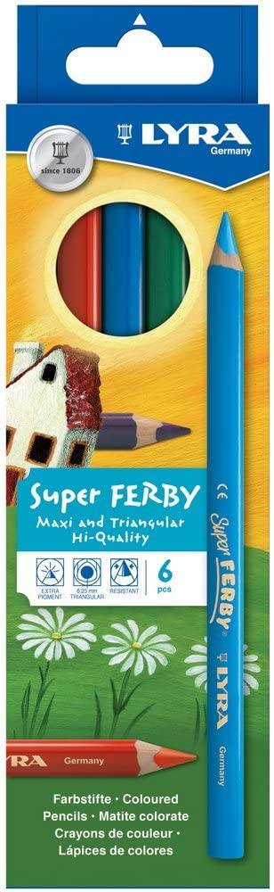 Lyra Super Ferby Colouring Pencils in Cardboard Packaging 6Assorted Colours 4084900451090