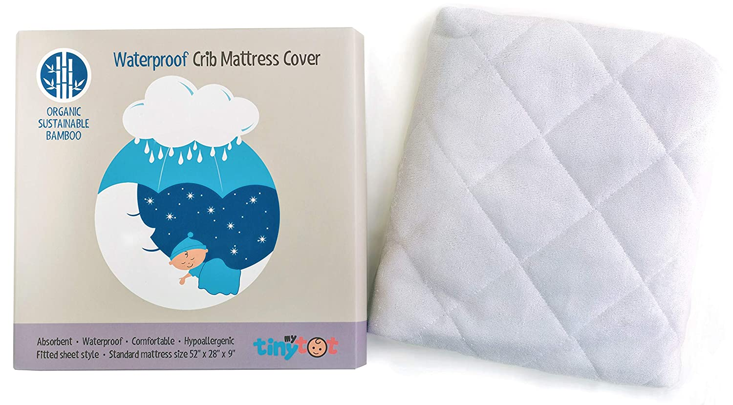 """Waterproof Mattress Protector for Baby & Toddler – 100% Organic, Hypoallergenic Bamboo Mattress Cover Crib Mattress Protector – The Perfect Cloud-Soft Mattress Pad for Little Ones (52"""" x 28"""")"""