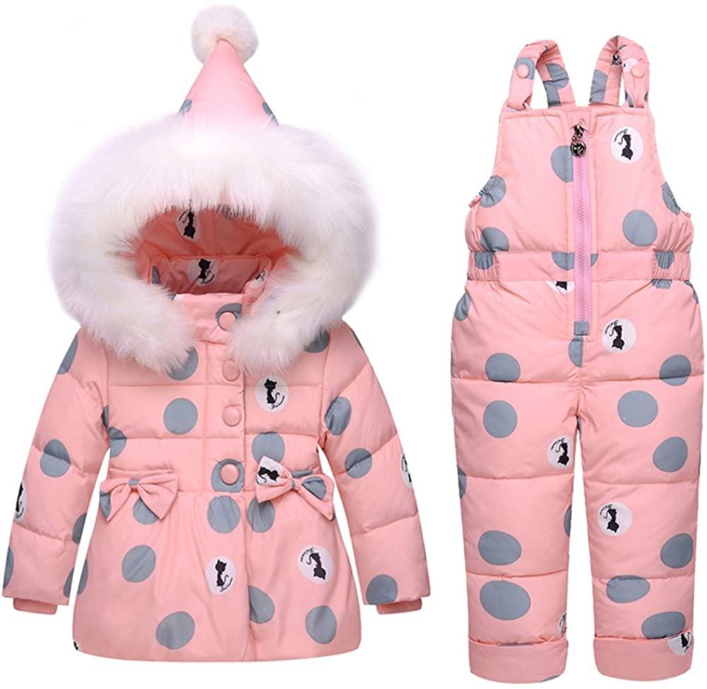 Baby Girls Snowsuit Toddler Puffer Hooded Jacket + Bib Pants 2 Pieces Set