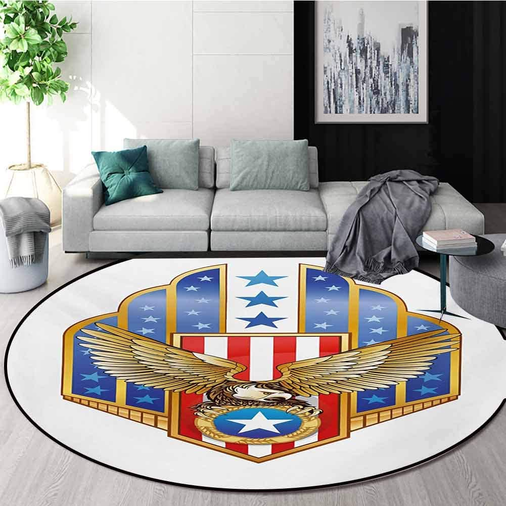 RUGSMAT Eagle Small Round Rug Carpet,Heraldic Illustration of Symbol of Freedom Golden Winged Eagle with Flag of States Door Mat Indoors Bathroom Mats Non Slip,Diameter-71 Inch Gold Red Blue