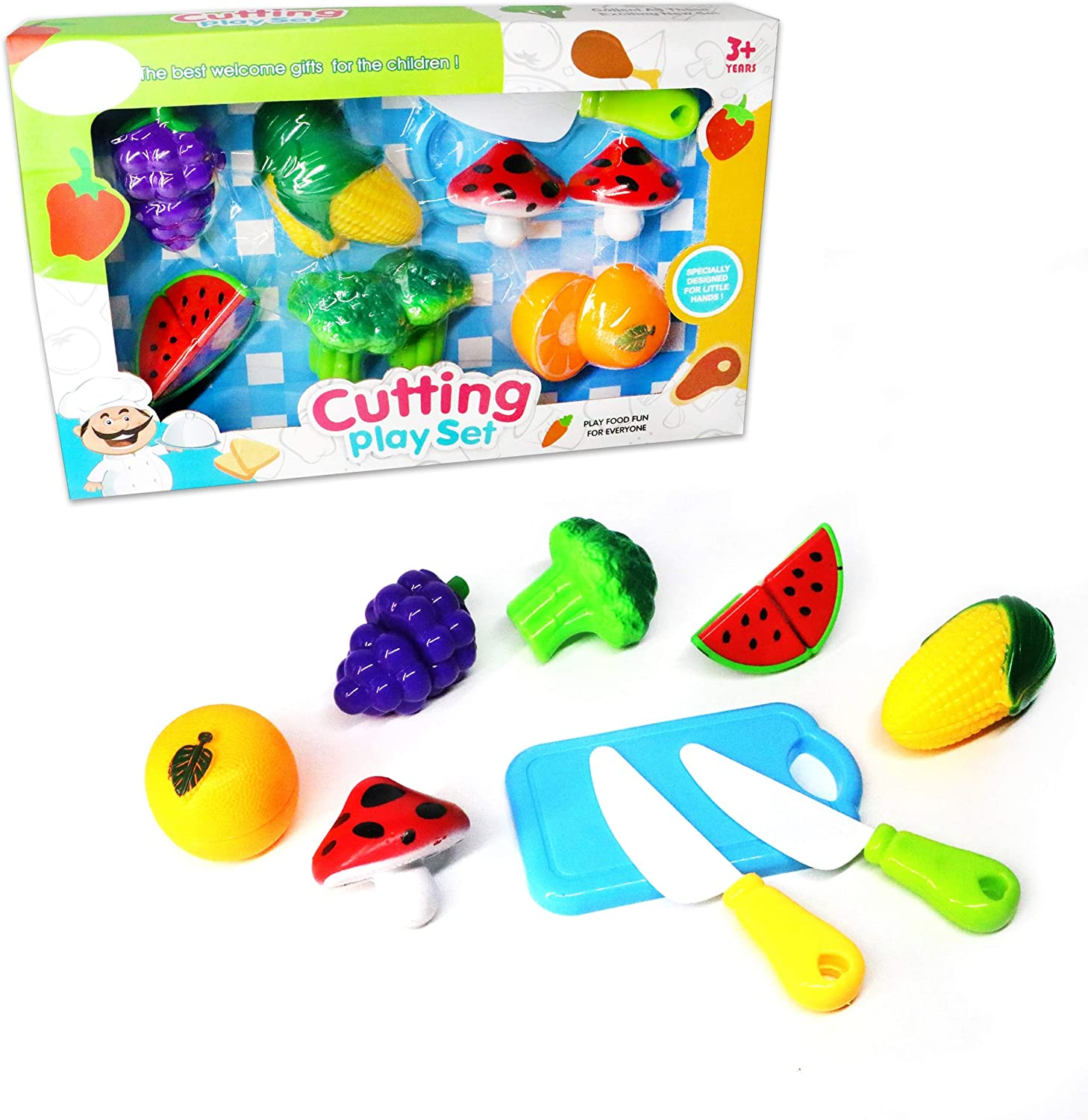LOZUSA Fruit and Vegetables Play Kitchen Food for Pretend Cutting Food Toys - Plastic Food Toys Educational Playset with Toy Knife, Cutting Board, Mushrooms, Broccoli, Corn, Orange, Grapes, Watermelon