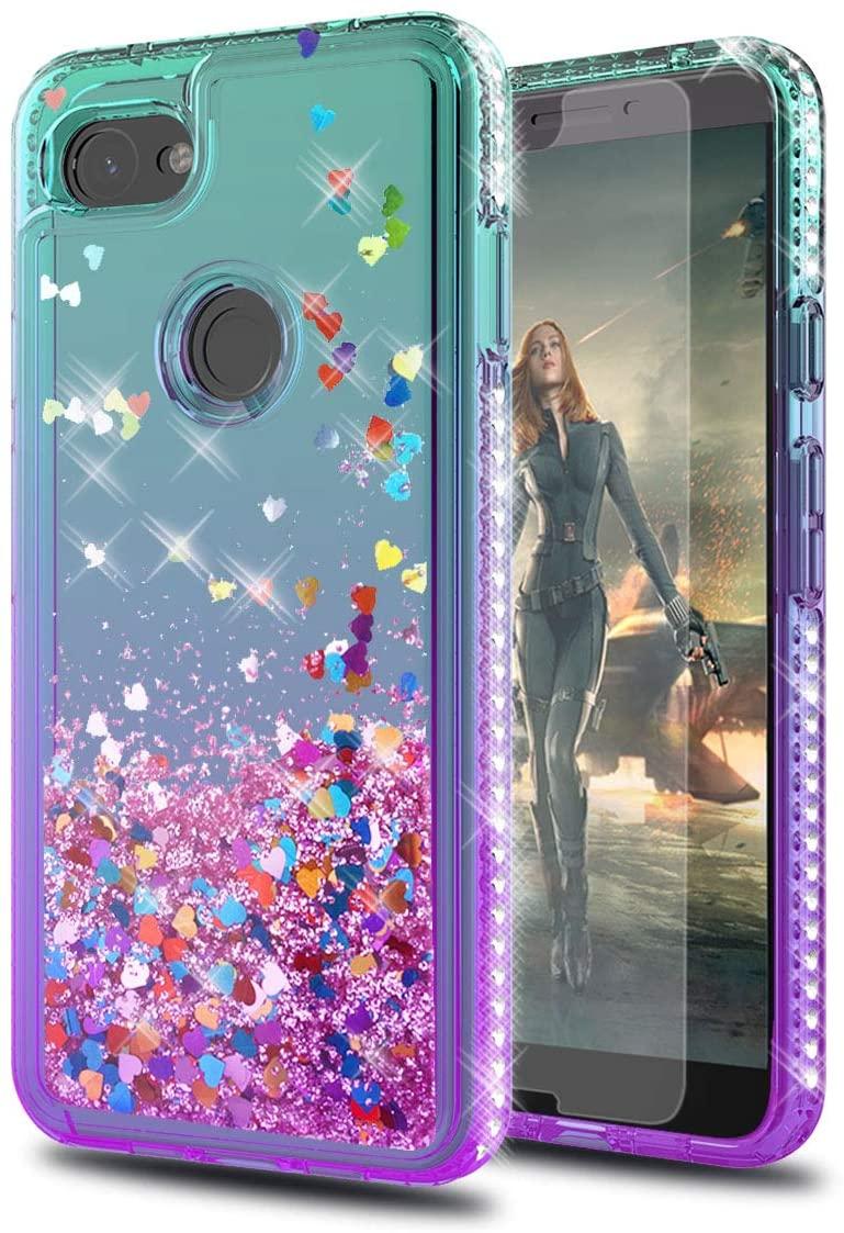 Google Pixel 3A XL/Google Pixel 3 Lite XL Case with HD Screen Protector,KaiMai Glitter Moving Quicksand Clear Cute Shiny Girls Women Phone Case for Google Pixel 3A XL-Aqua/Purple