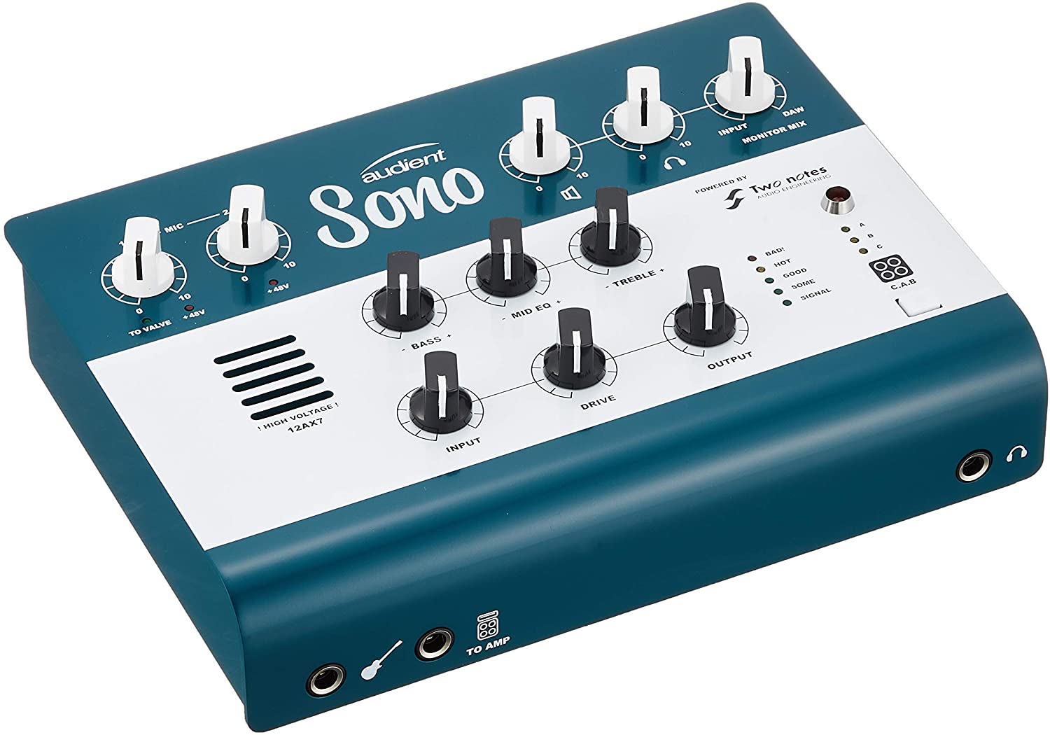 Audient Sono Amp Guitar Recording Audio Interface Ultimate Value Guitar Preamp with Two Notes Power amp, Cab Simulation and 3 Band Analogue Tone Control (The Ultimate Audio Interface For Guitarists)