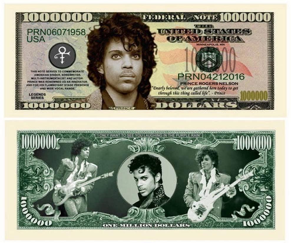 "5 Prince Million Dollar Bill with Bonus ""Thanks a Million"" Gift Card Set"