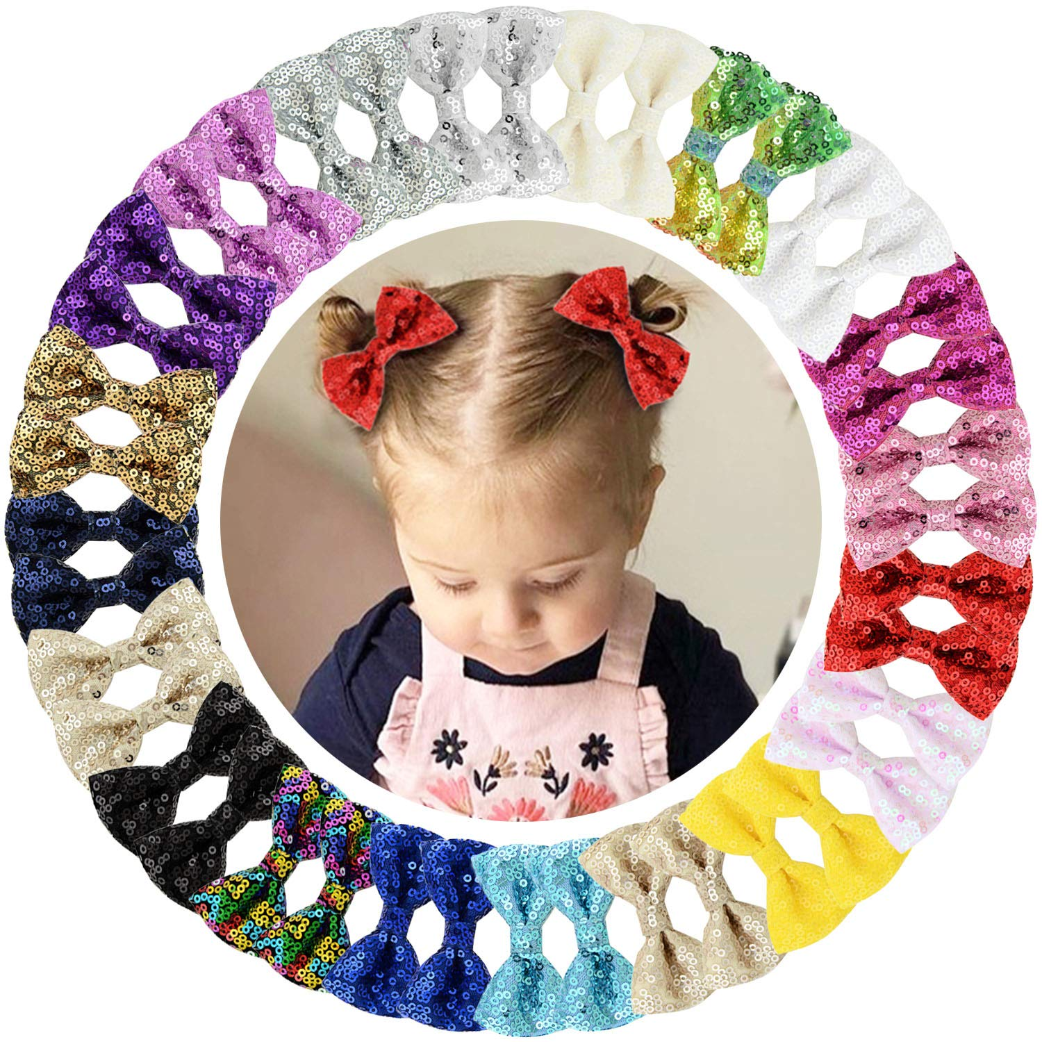 Qearl 40Pcs 2.75 Inch Glitter Hair Bows for Girls Sequin Bows with Alligator Clips Hair Accessories for Baby Girls Toddlers Kids In Pairs