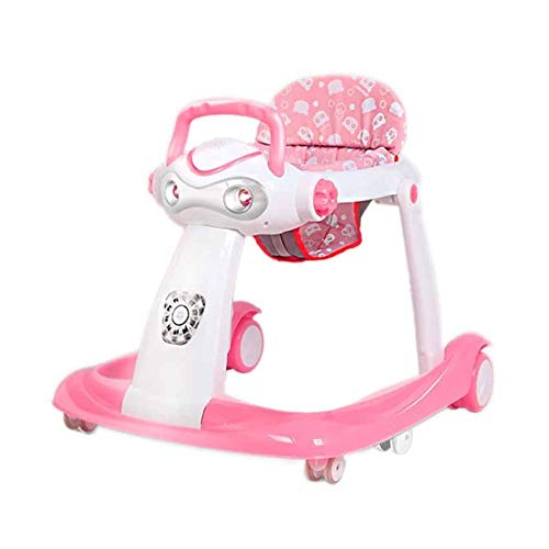 Multifunction Anti-Rollover Stroller, 6/7-18 Months Infant Can Sit Foldable Baby Walker (Color : Pink)